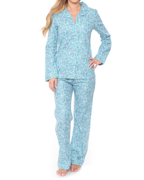Baby Blue Paisley Flannel Pajama Set