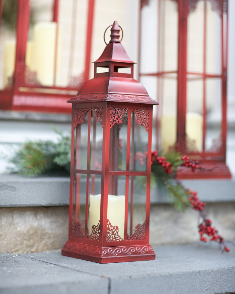 Rustic Holiday Pillar Lantern Set