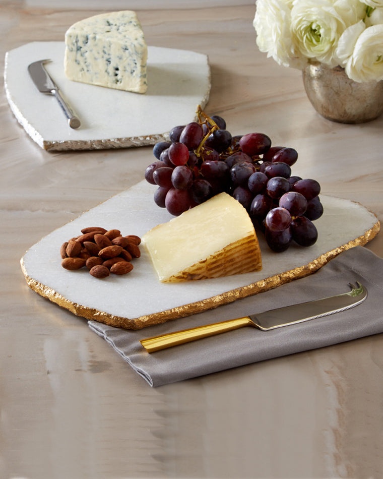 White Marble Cheese Plate and Knife