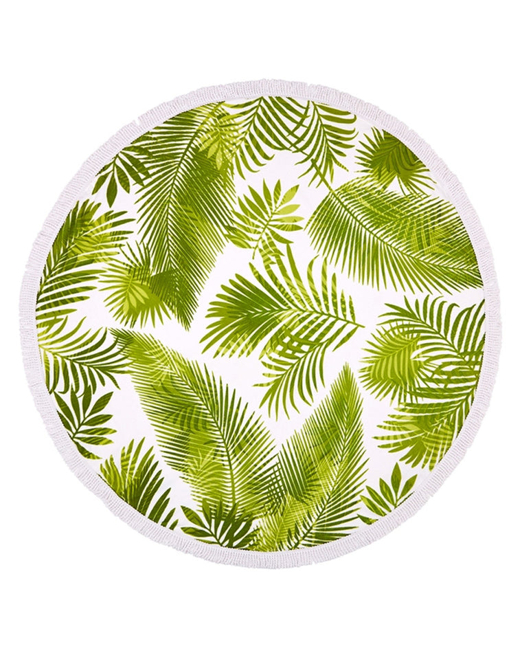 Palm Leaf Print Round Tassel Beach Towel