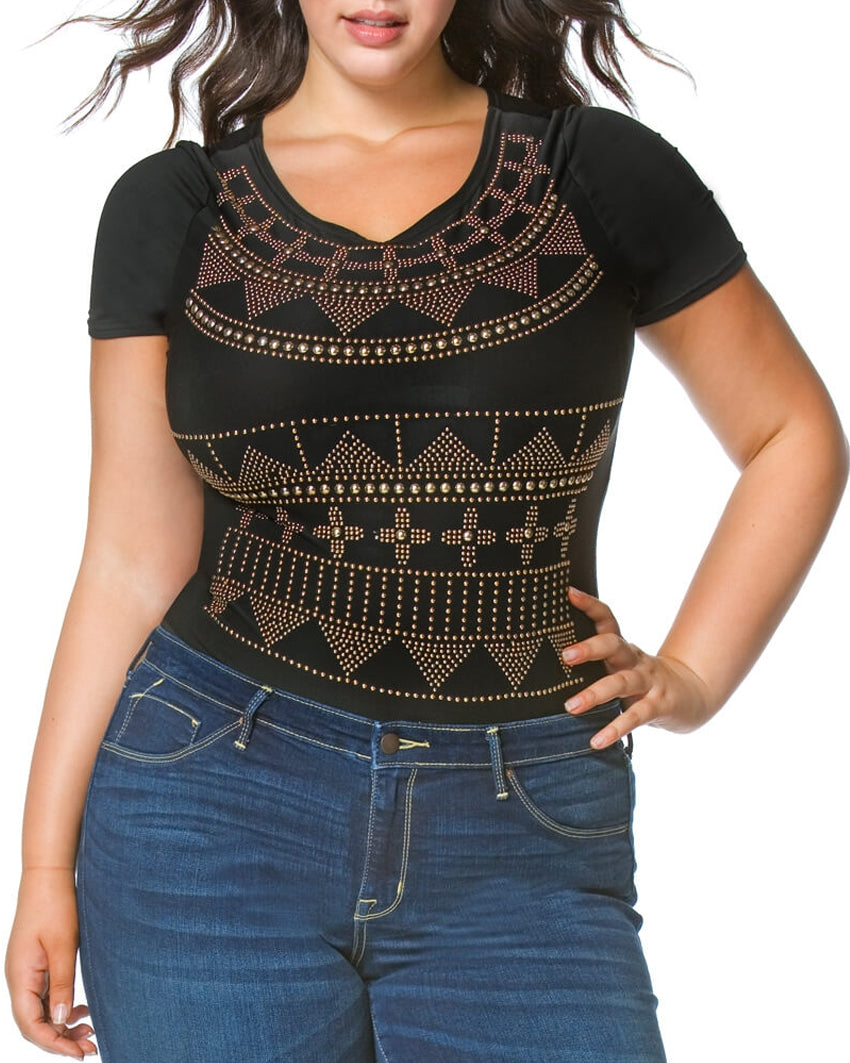 Stud Embellished Short Sleeve Bodysuit (Plus Size)