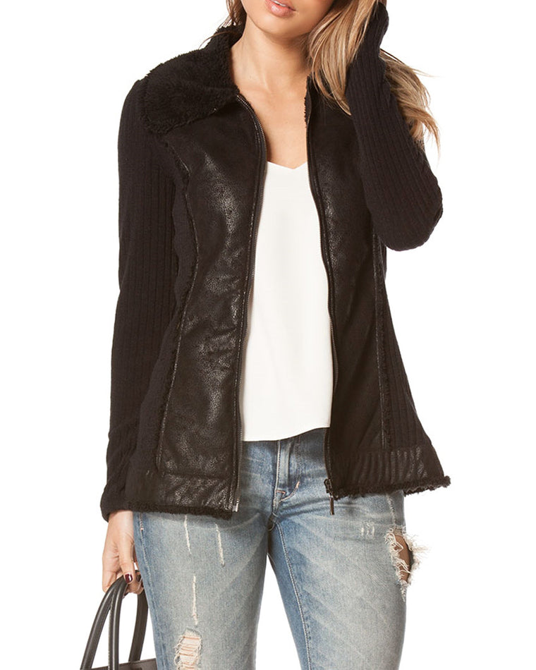 Black Ribbed Sweater Jacket