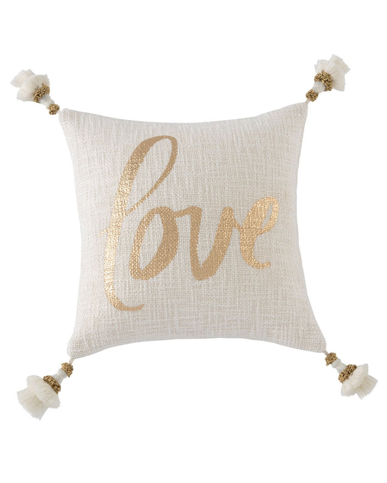 Festive 'Love' Gold Accent Pillow
