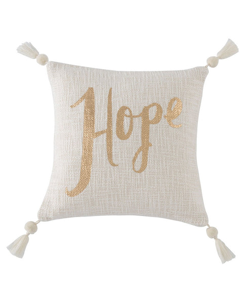 Festive 'Hope' Gold Accent Pillow