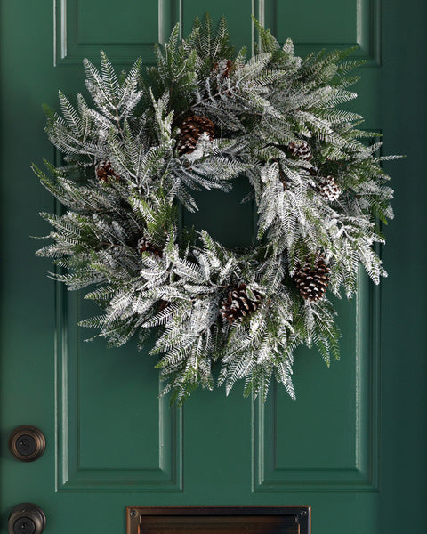 Snowy Evergreen and Pinecone Wreath