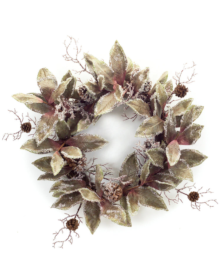 Icy Magnolia and Pinecone Wreath