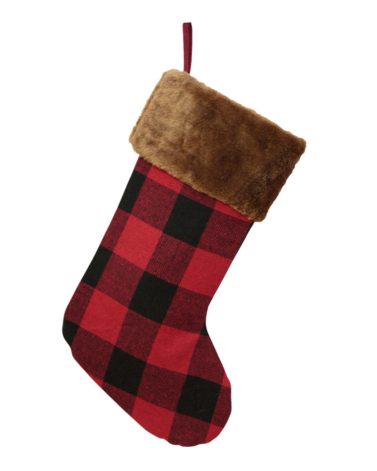 Plaid Faux Fur Stocking