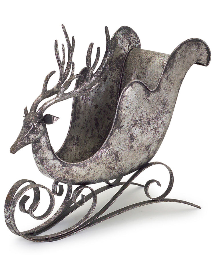 Pewter Sleigh with Deer Head Decoration