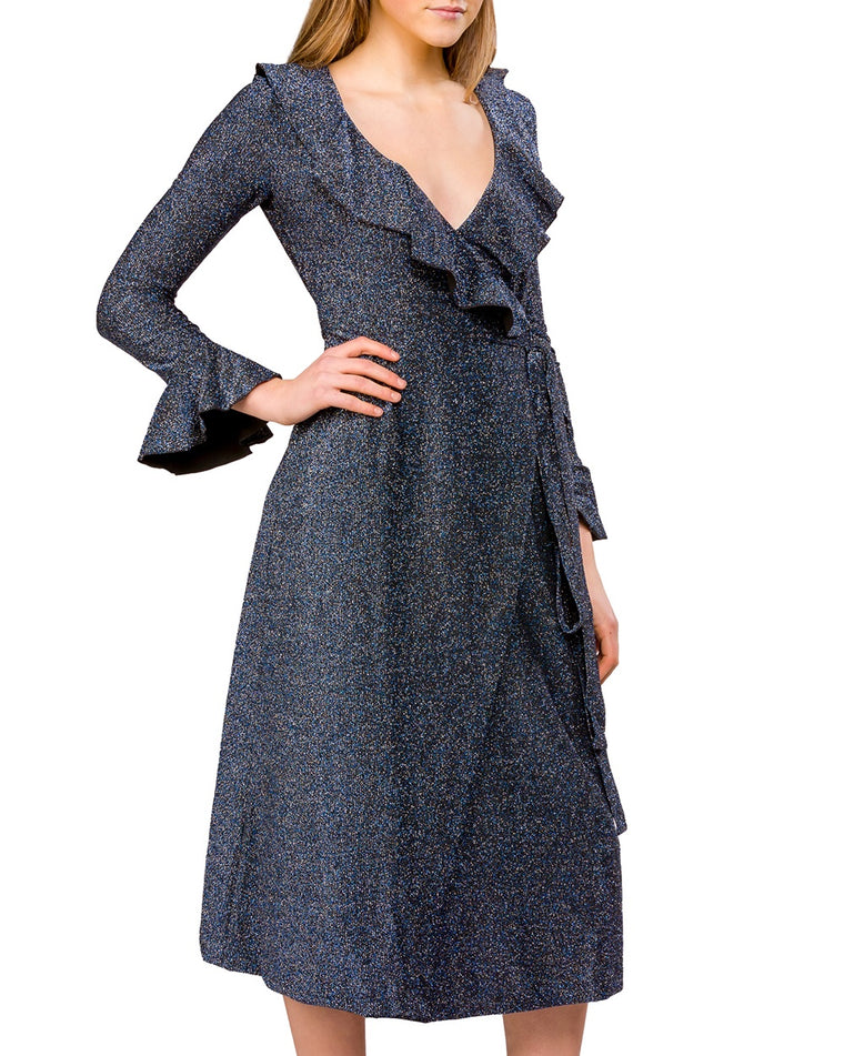 One More Time Shimmer Wrap Dress