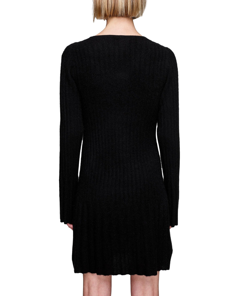 Ribbed Cashmere V-Neck Sweater Dress
