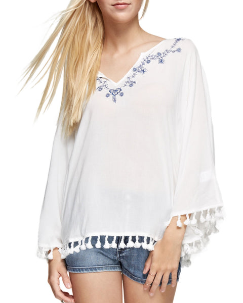 Embroidered V-Neck Poncho Tunic
