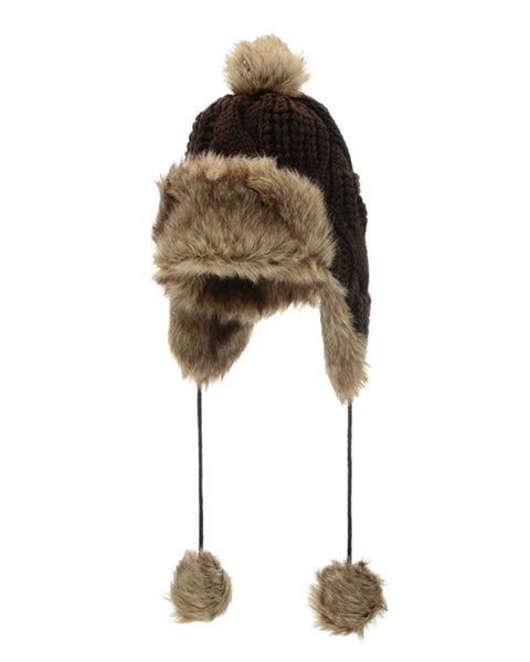 Knit Faux Fur Pom Ear Flap Hat