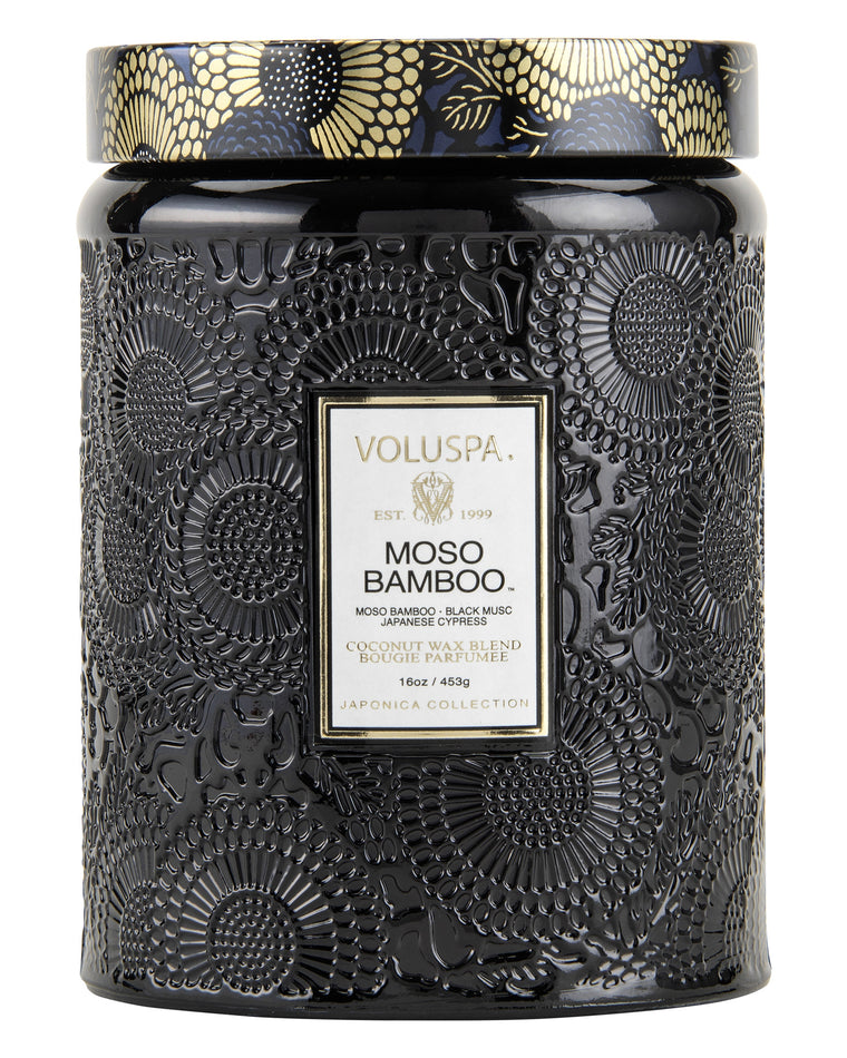 Moso Bamboo Large Embossed Jar Candle