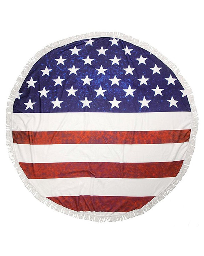 Patriotic Flag Round Tassel Beach Towel