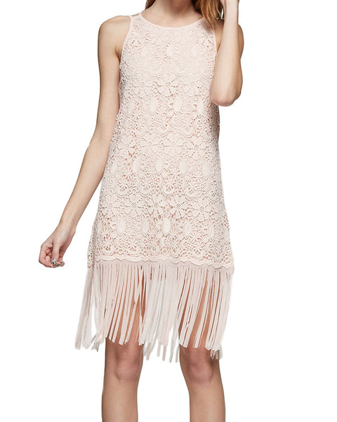 Lace Overlay Fringe Shift Dress
