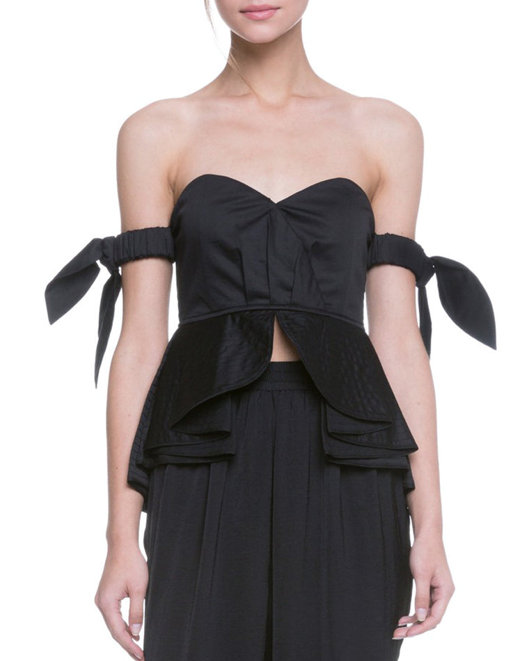 Black Tiered Ruffle Off-the-Shoulder Top