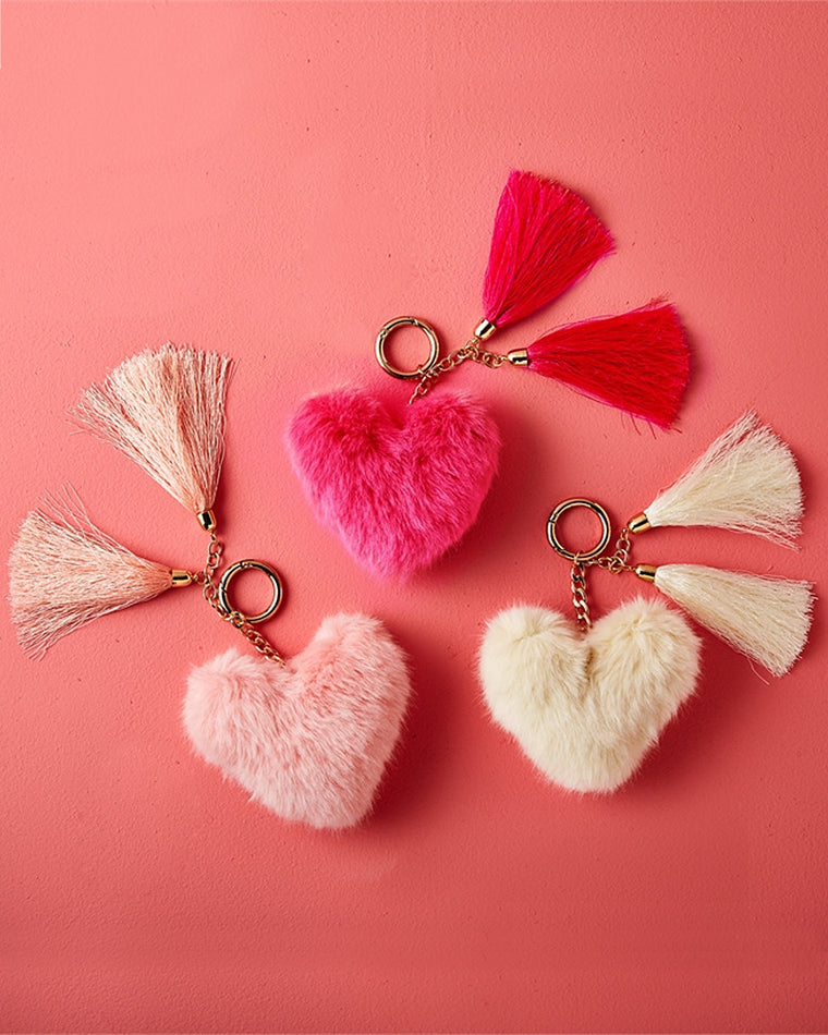 Soft Hearted Fur Pom Pom Keychain