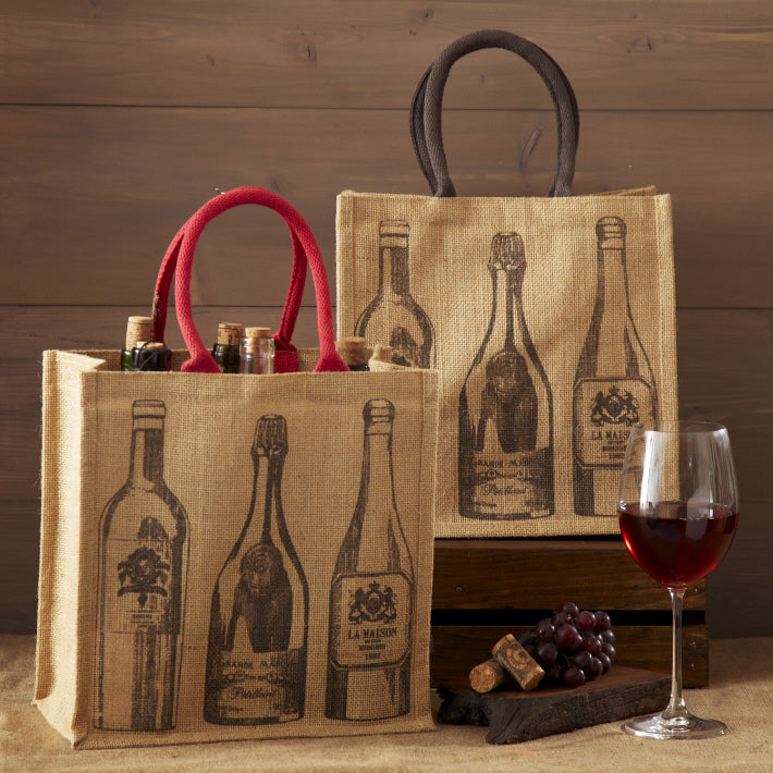 Viva Vino Wine Motif Bottle Tote