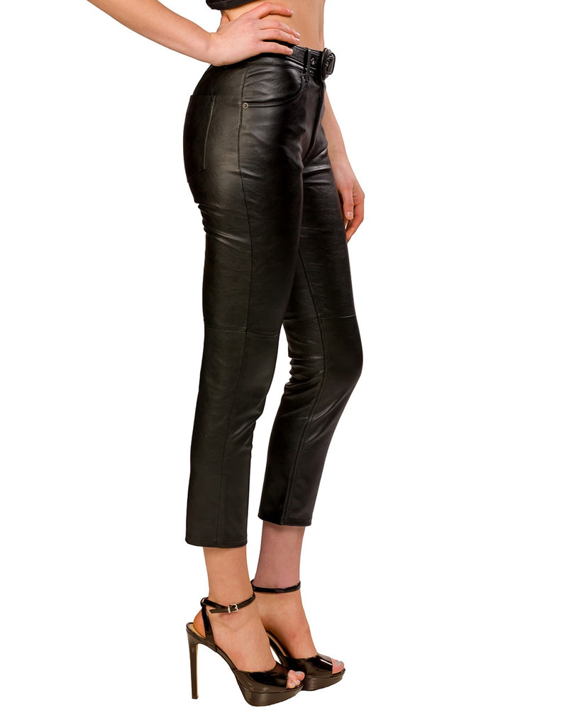 Belted Faux Leather Skinny Pants