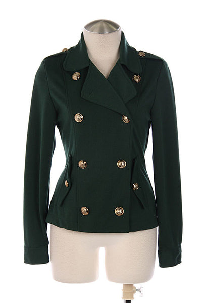 Notched Collar Military Style Knit Jacket