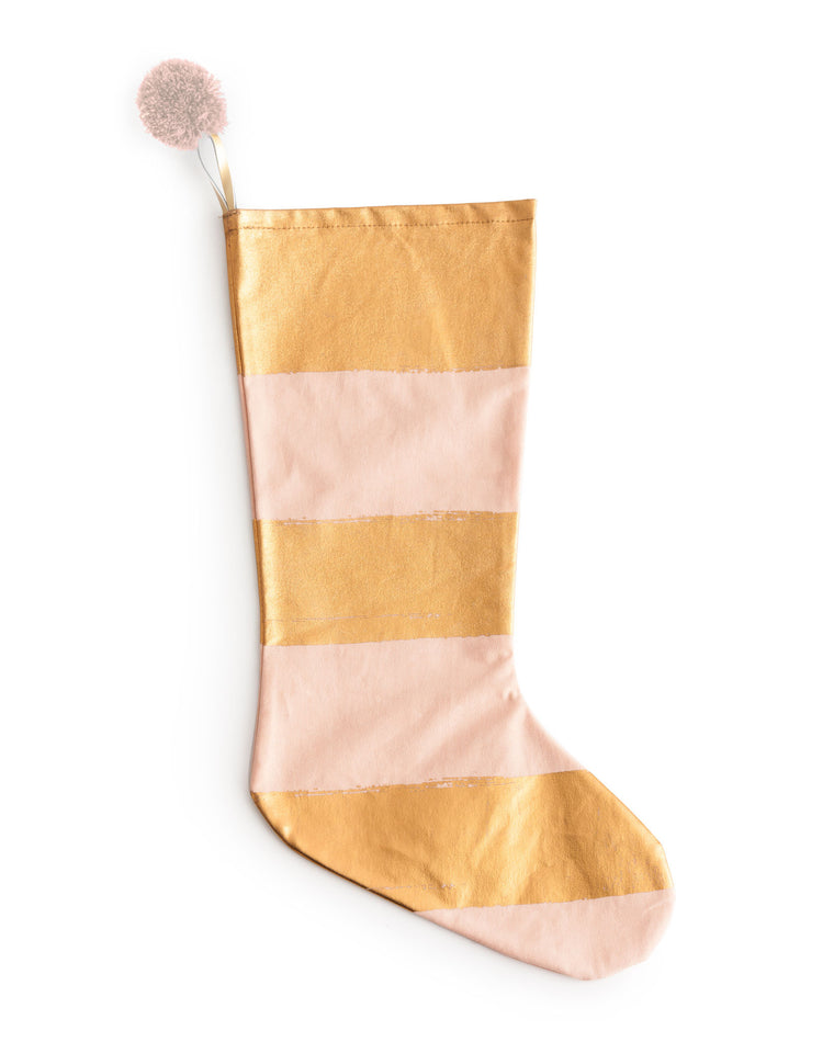 Pink and Gold Striped Stocking