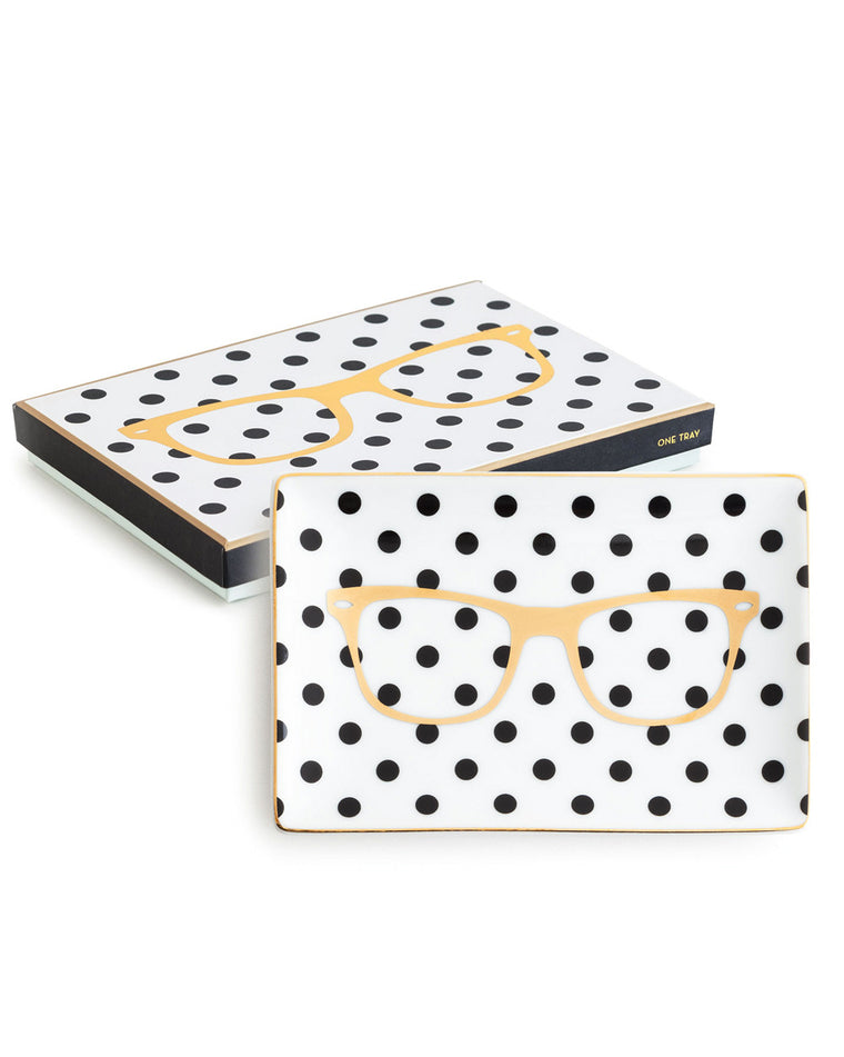 Polka Dot Glasses Porcelain Tray