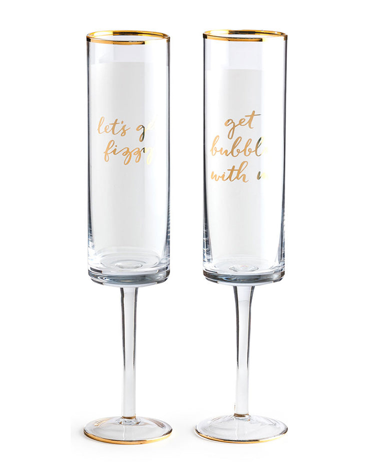Playful Script Stemmed Champagne Flutes (Set of 2)