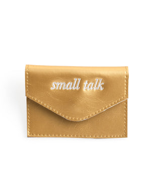 'Small Talk' Gold Business Card Holder