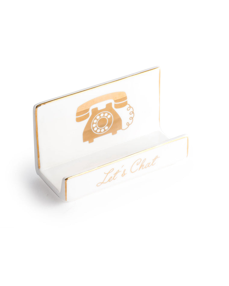 Let's Chat Desk Business Card Holder