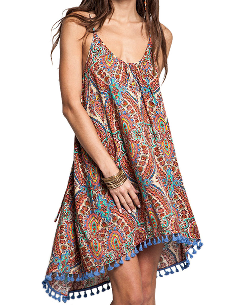Boho Tassel Halter Dress