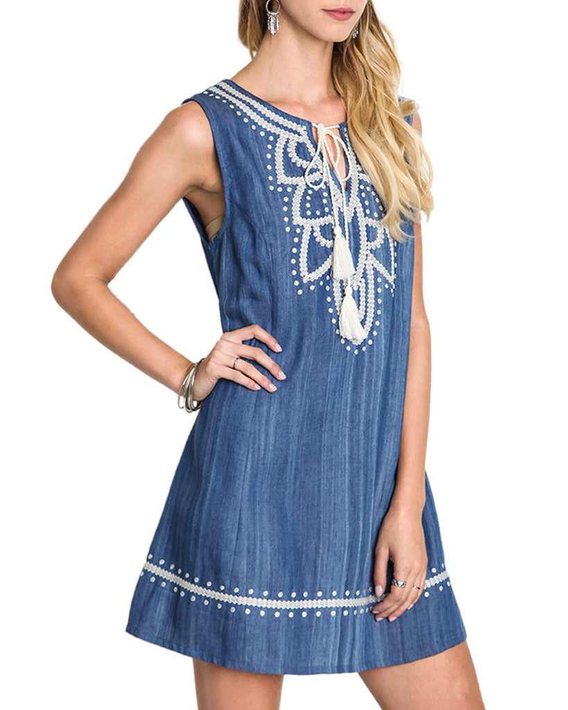 Denim Embroidered Shift Dress