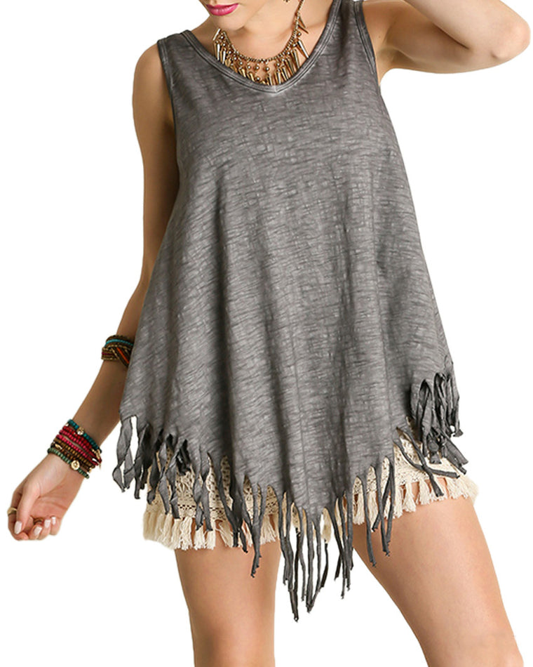 Burnout Gray Fringe Tank Top