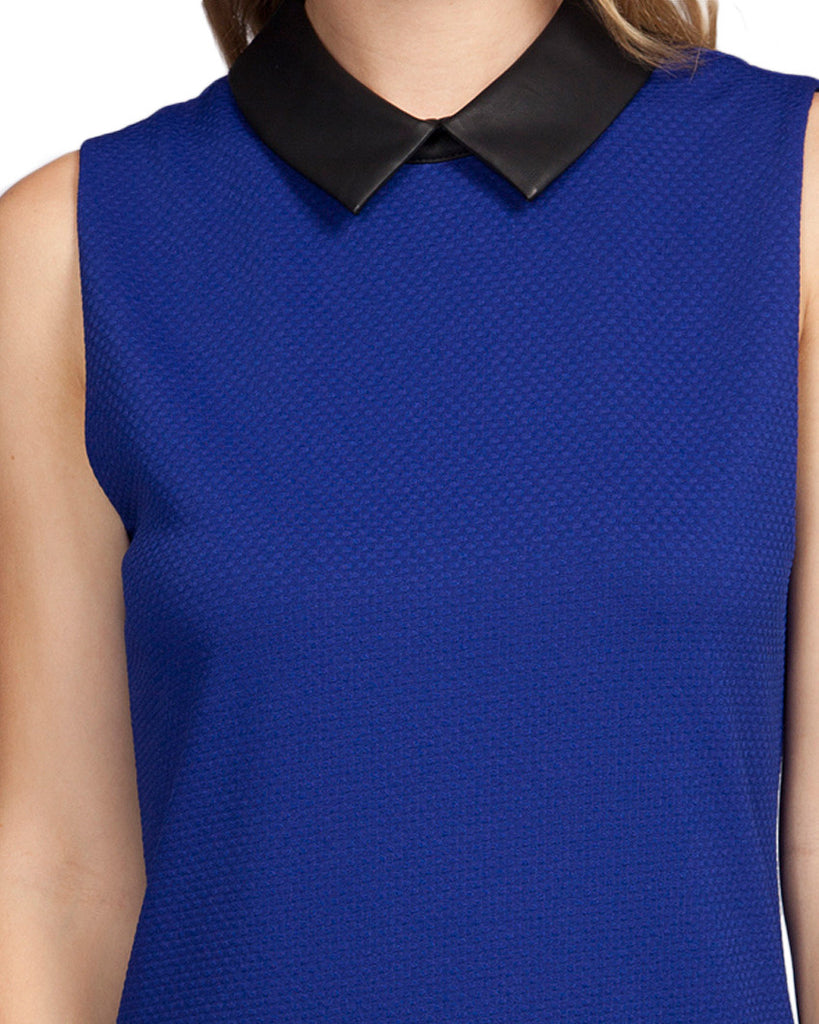 Sleeveless Colorblock Leather Dress