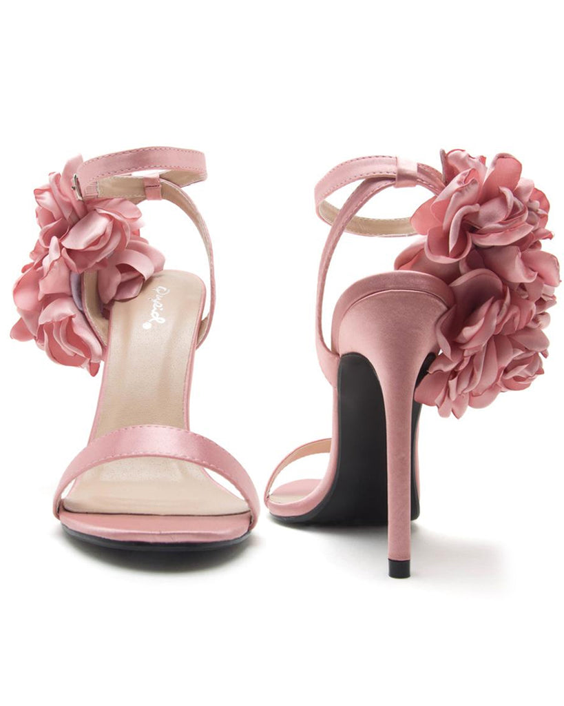 Air of Romance Flower Ankle Strap Heels