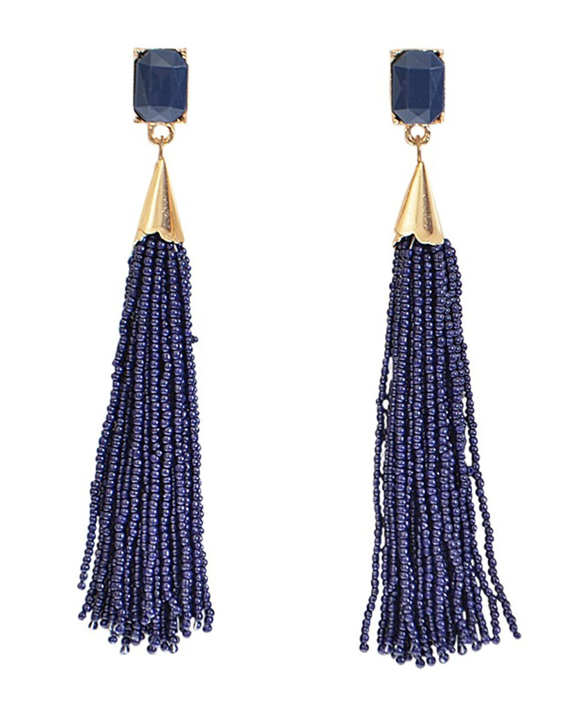 Melina Beaded Tassel Drop Earrings