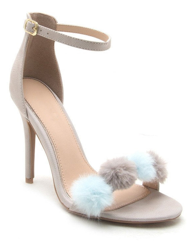 Seeing Chic Pom Pom Ankle Strap Heels