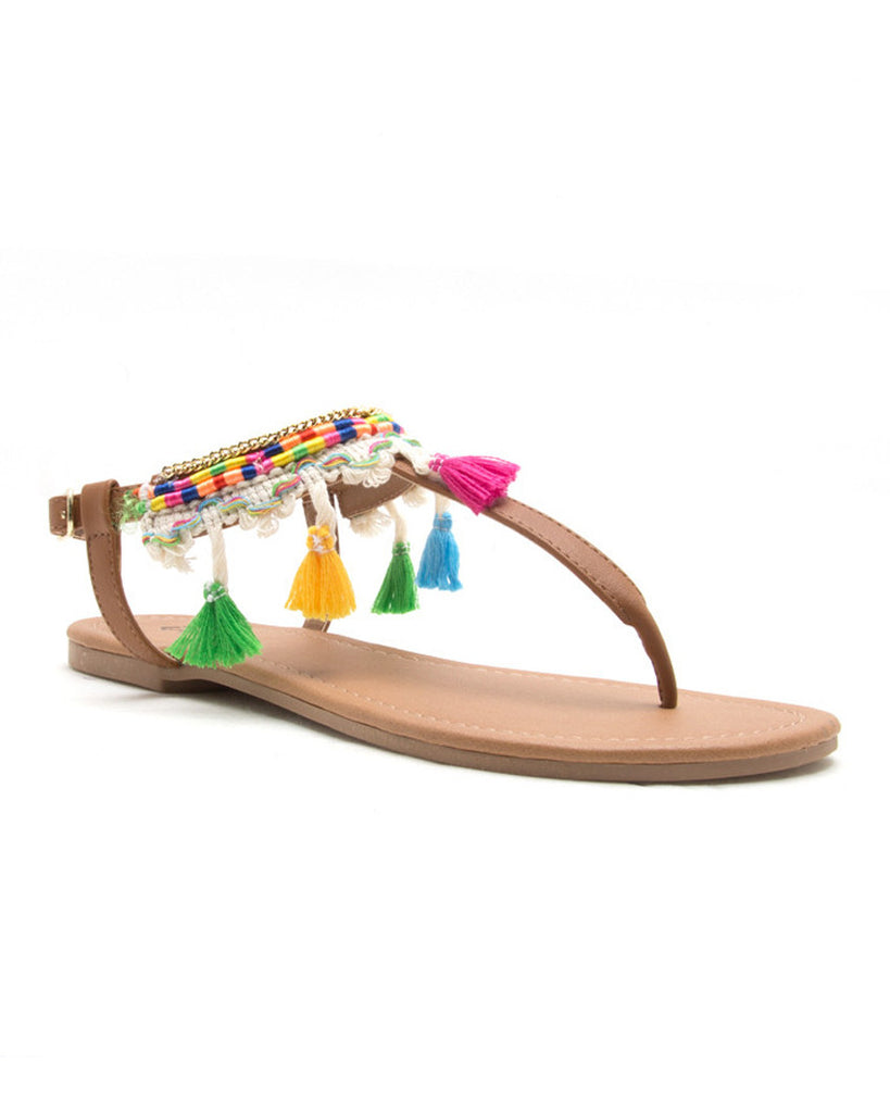 Lost in Paradise Camel Thong Sandals