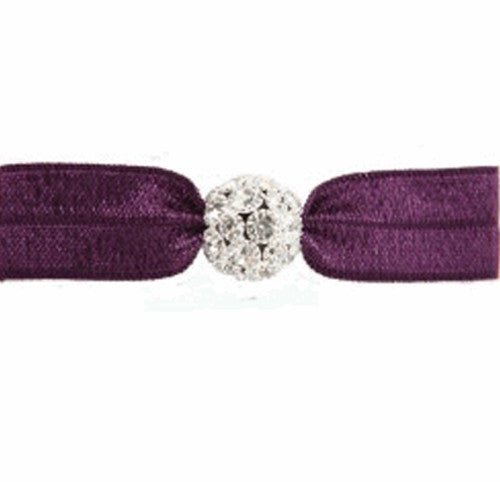 Emi-Jay Amethyst Hair Tie with Silver Crystal Bead
