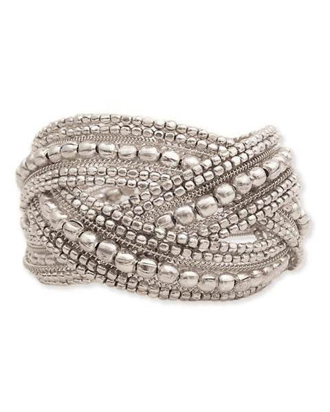 Whitney Metal Bead Braided Cuff