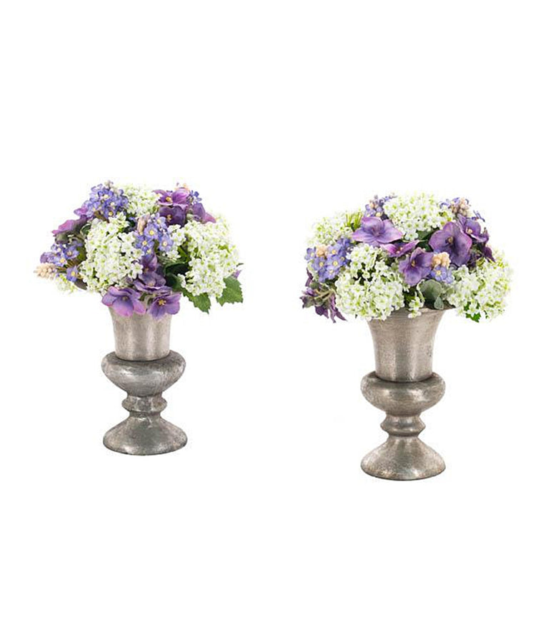 Snowball Hydrangea & Forget-Me-Not in Pewter Urn Set