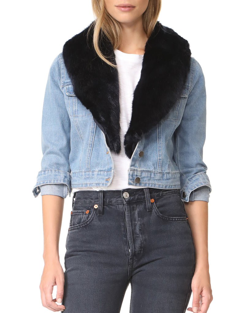Mia Faux Fur Collar Denim Jacket