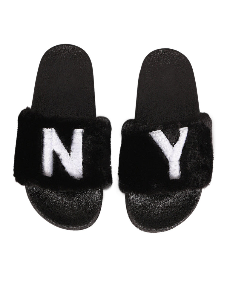 New York State of Mind Faux Fur Slide Sandals