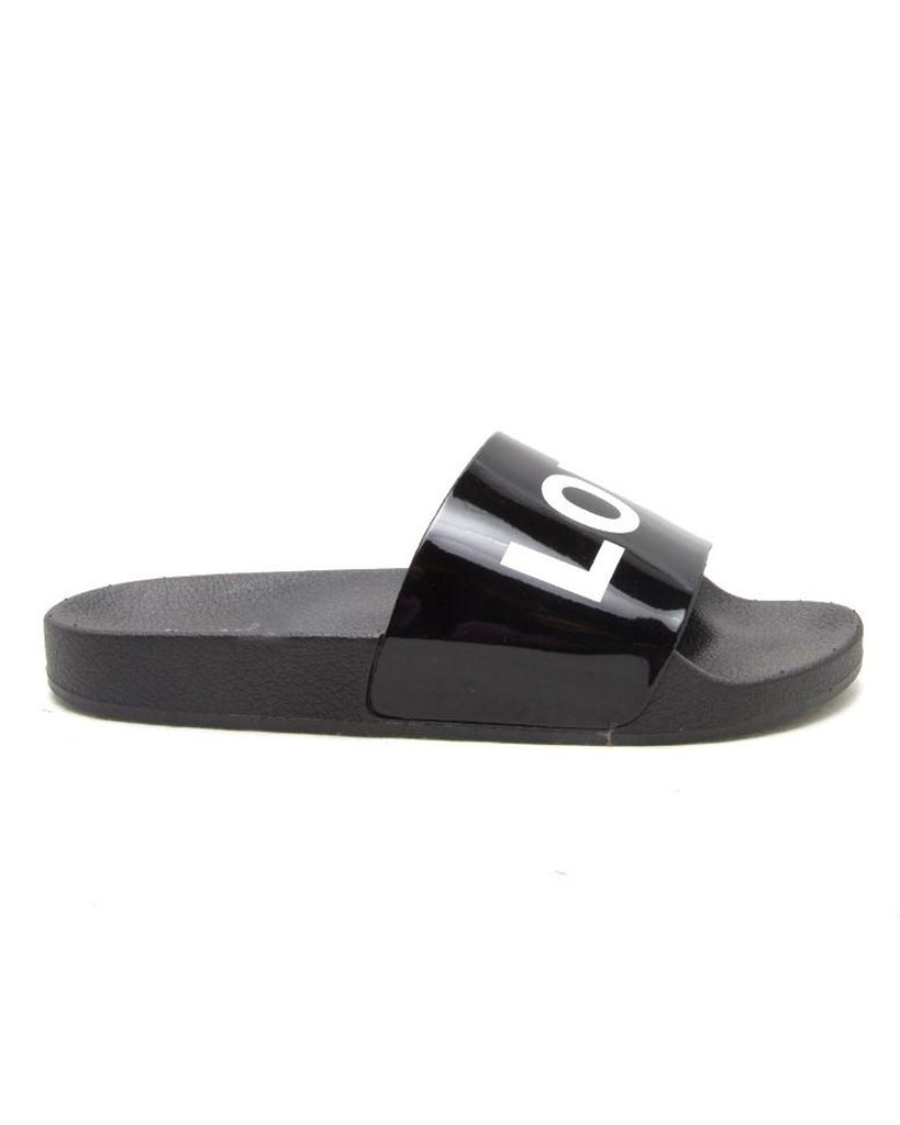 Low Key Black Slide Sandals