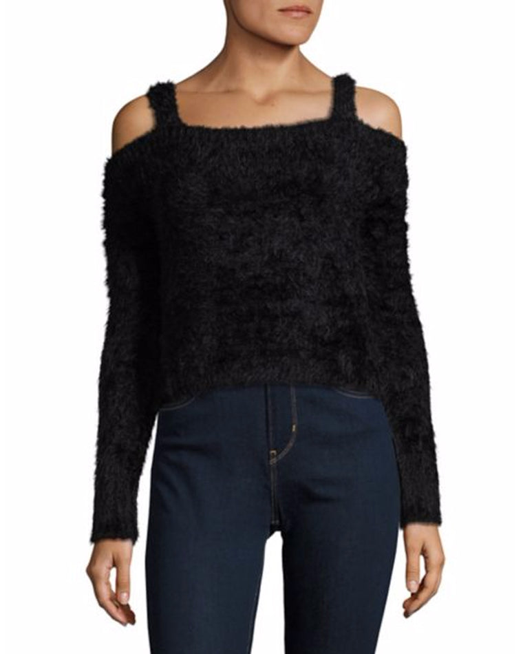 Calista Cold Shoulder Eyelash Sweater