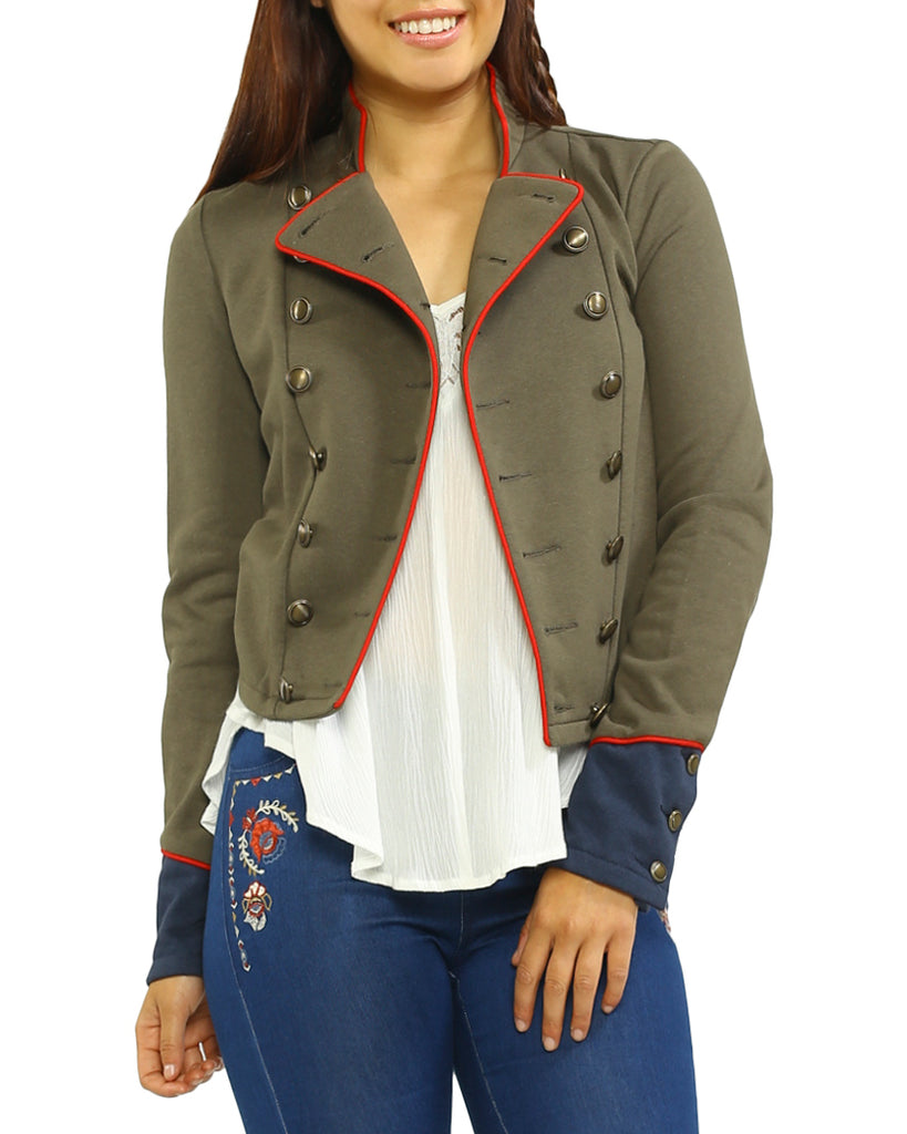 Piped Double Breasted Military Jacket