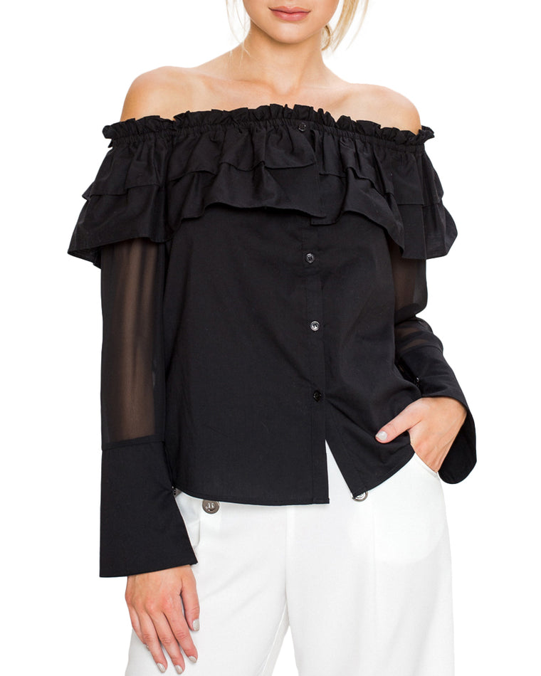 Black Ruffle Off-the-Shoulder Top