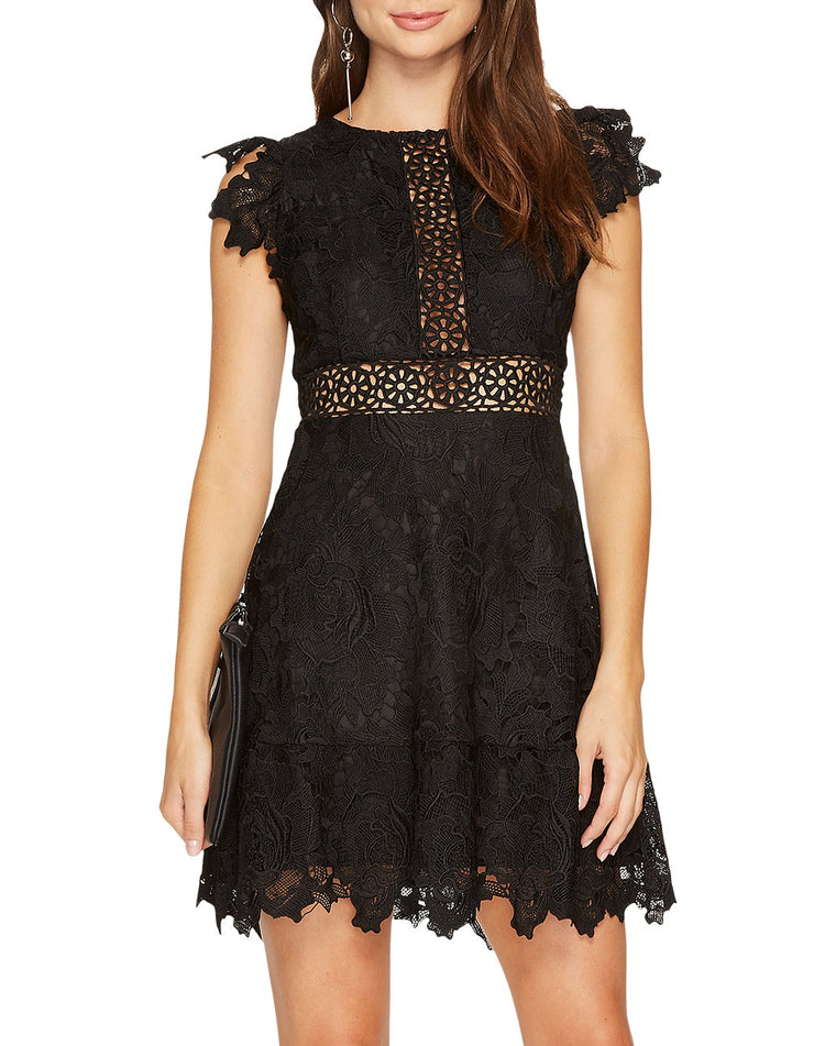 Calvin Scalloped Trim Lace Dress