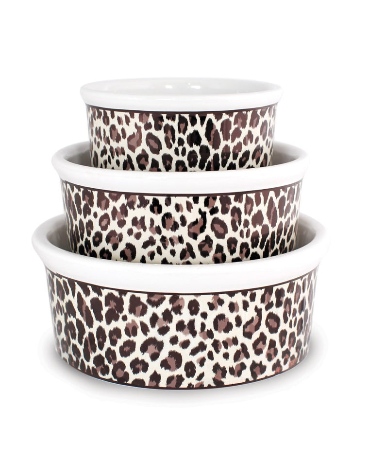 Leopard Print Ceramic Pet Bowl