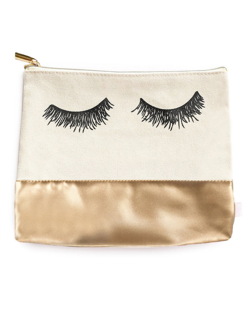 Eyelash Gold Leather Makeup Pouch