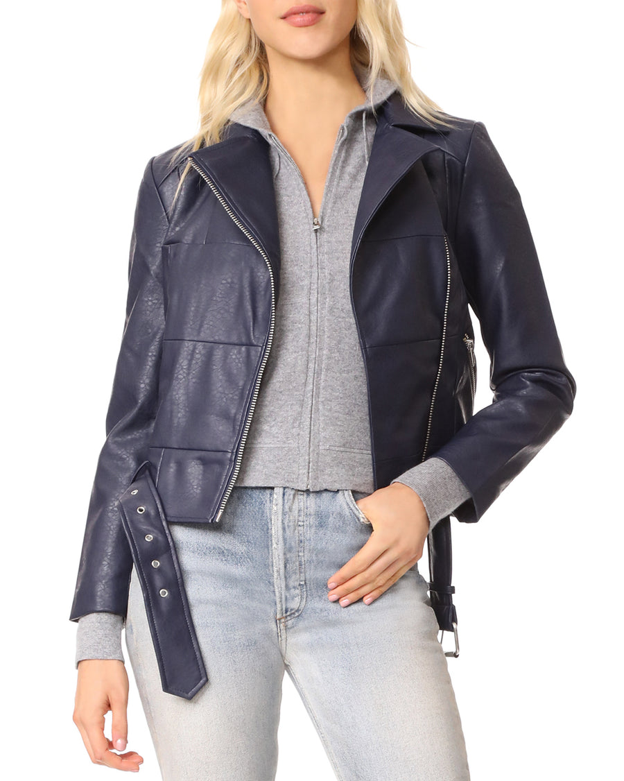 Maria Washed Faux Leather Patchwork Jacket